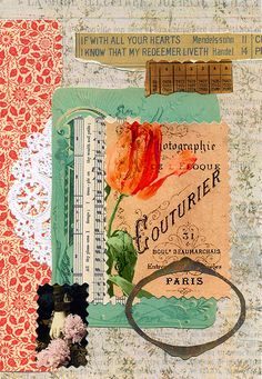 This is a page from Lesson 1 of Your Vintage Gluebook Online Class:-    greenpaper.typepad.com/green/your-vintage-gluebook-online...    This uses images from the class and some of my own and is based upon colour and composition.    Blogged at:- vintagebunt