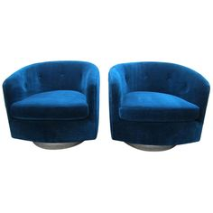 Pair Milo Baughman Chrome Swivel Barrel Back Lounge Chairs Mid-century Modern.  I LOVE Barrel chairs!  These are not only fabulous but look so comfy too!