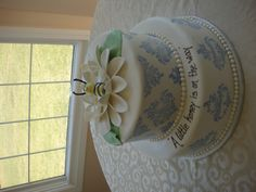 Honey Bee Baby Shower Cake with Blue Damask Print
