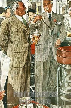 At The Bar , 1936 mens fashion illustration of a splendid pair of herringbone suits propping up the bar stock photo