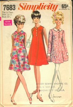 """Simplicity 7683; ©1968; This Pattern has the New Narrow Shoulder and """"Close-to-the-Body-Fit"""". Young Junior/Teens' and Misses' Dres in Two Lengths: The """"tent-type"""" dress has high round neckline and center front seam with button closing. Avove knee-length V. 1 with long set-in sleeves gathered at armholes has contrasting collar and cuffs. Regular-length V. 2 & 3 are sleeveless. V. 2 has collar. Top-stitched, collarless V. 3 has breast pocket."""