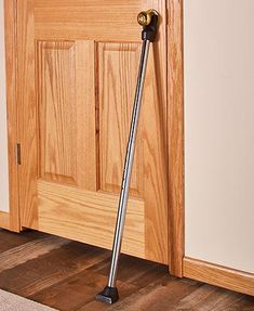 Feel safe at home or while staying in a motel with this Deluxe Door Guard Security Bar. It reinforces any door to prevent entry by unwanted visitors. Security Door, Security Alarm, Security Camera, Safe Door, Door Bar, Wireless Home Security Systems, Home Gadgets, Door Stop, Home Improvement Projects