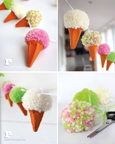 Guirlande de cornets de glace fait avec des pompons DIY DIY Pom Pom Ice Cream Garland Made With Yarn and Egg Cartons by TheCrafty Swedes Fun Easy Crafts, Easy Crafts For Kids, Summer Crafts, Diy For Kids, Diy And Crafts, Pom Pom Crafts, Yarn Crafts, Etsy Crafts, Paper Crafts