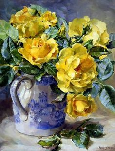 Yellow Roses - Blank/Birthday Card by Anne Cotterill Flower Art Painting Still Life, Still Life Art, Paintings I Love, Floral Paintings, Oil Painting Flowers, Oil Paintings, Art Floral, Still Life Flowers, Belle Photo