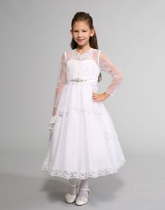 This gorgeous dress by Sweetie Pie Collection is a beautiful long sleeve tulle and lace communion dress. The dress features a satin bodice with an illusion neck. White Flower Girl Dresses, Dresses For Less, Illusion Neckline, Embroidered Lace, Lace Overlay, White Long Sleeve, Gorgeous Dress, Beautiful, Lace Dress