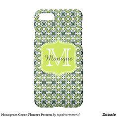 Monogram Green Flowers Pattern iPhone 7 Case