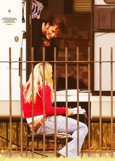 David Tennant and Billie Piper running lines for Doctor Who.