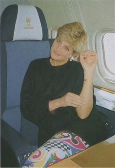 Princess Diana in a rare photo on the Queens Flight.