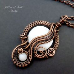 Copper Wire wrapped pendant with white mother of pearl by Pillar of Salt Studio