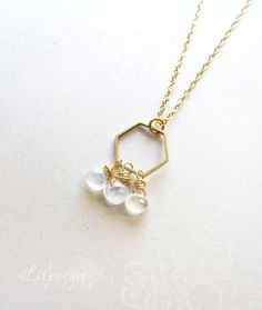 K i k o - Brass hexagon faceted moonstone gold necklace. $23.
