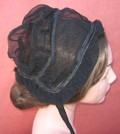 1830's Crepe Mourning Cap Side View