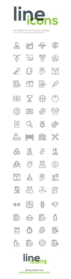 64 Line icons on Behance