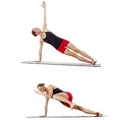 These side planks—part of our strength workout—will punish your abs. : These side planks—part of our strength workout—will punish your abs. Fitness Tips, Fitness Motivation, Health Fitness, Plank Fitness, Health Diet, Pilates, Get Toned, 10 Minute Workout, Strength Workout