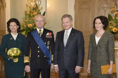 King Carl Gustaf and Queen Silvia of Sweden state visit to Finland 3/3/2014