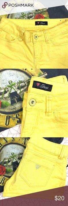 Guess Shorts Yellow Guess shorts . 5-pocket style . Fly zip with button closure . Jeweled Guess logo on back pocket . Shortie shorts great for summer ! Guess Shorts Jean Shorts