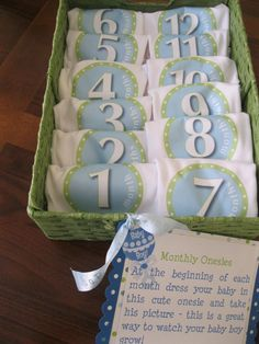 Love this idea!!! Monthly Onesies: Baby Shower Gifts