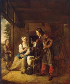 Pieter de Hooch - Soldaat biedt vrouw een glas wijn aan