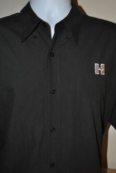U Men's Mens PORT AUTHORITY BLACK BUTTON DOWN SHIRT SS H embroidered XL Extra L $24.99