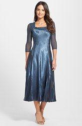 Komarov Embellished Charmeuse & Chiffon A-Line Dress (Regular & Petite)