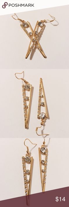 """✨ Gold Triangle Earrings Sleek & slender! Slender golden triangle's with diamond accents. 2"""" long Fashion jewelry Jewelry Earrings"""