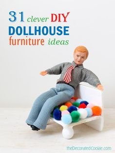DIY dollhouse furniture roundup AND how to make a pom pom armchair