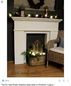 blue roof cabin faux fireplace mantle and logs Christmas Fireplace, Christmas Mantels, Fireplace Mantle, Christmas Diy, Farmhouse Fireplace, Fireplace Kitchen, Limestone Fireplace, Black Fireplace, Country Christmas