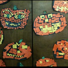 Mosaic Pumpkin Craft + other Halloween Paper Crafts