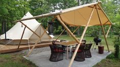 """Glamping, or """"gorgeous camping,"""" is a lavish option to typical camping that's become significantly common in the last decade. Bell Tent Camping, Camping Glamping, Luxury Camping, Camping Hacks, Florida Camping, Outdoor Camping, Bushcraft, Casa Top, Canvas Bell Tent"""