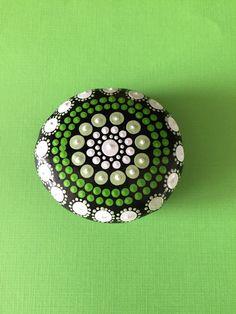 Mandala Painted Stone- shades of green- dot painting- aboriginal art