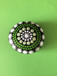 Mandala Painted Stone- shades of green- dot painting- aboriginal art