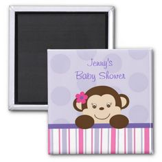 Sweet Lil Girl Monkey Party Favor Magnets