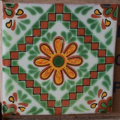 1 box of 90 Talavera 4x4 Mexican clay tiles handmade hand painted