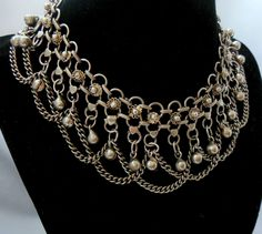 Vintage Gypsy Chainmaille Festoon Necklace with Bells