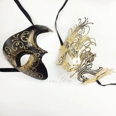 New! His & Hers Phantom Masquerade Masks [Gold Themed] - Bestselling Black/Gold Half Mask and Gold Laser Cut Masquerade Mask with Diamonds on Etsy, $54.95