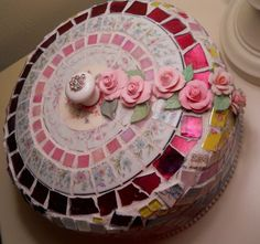 Fully functional Cake Dome Cover Server Shabby Chic Cottage handmade Mosaic Cake Dome Cover Broken China Mosaic Cake Cover