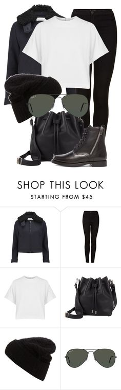"""""""Untitled #1902"""" by annielizjung ❤ liked on Polyvore featuring Victoria Beckham, Topshop, dVb Victoria Beckham, Proenza Schouler, Acne Studios, Ray-Ban and Yves Saint Laurent"""