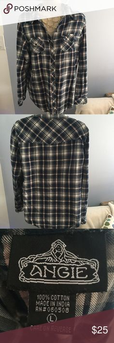 Flannel Button Up Worn a few times blue light pink and cream Angie Flannel Angie Tops Button Down Shirts
