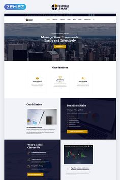 Investment Smart - Solid Investment Agency Multipage HTML Website Template Great Website Design, One Page Website, Website Design Layout, Web Layout, Website Designs, Design Layouts, Ui Website, Event Website, Website Ideas