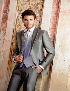Italian Style Silver Gray Satin Groom Tuxedos Custom Made Mens Wedding Prom Party Suits Groomsman Suit(Jacket+Pants+Vest)terno