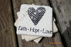Contemorary Heart~ Faith~Hope~Love ~ Black Stamped Travertine Tile Coaster Set by TrendyTrioDesigns on Etsy