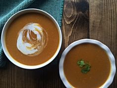 Butternut squash soup tends to be a classic cold weather soup. It purees beautifully into soup and pairs well with many flavors. This winter vegetable is shape