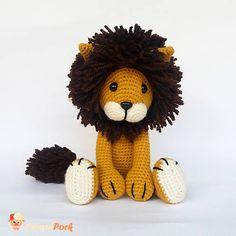 León Amigurumi, Juguete de crochet, Animal de peluche. FELIPE el León / Oro. Listo para enviar.