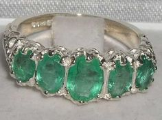 Victorian Style Hallmarked Sterling Silver Genuine Emerald Ring Size 7