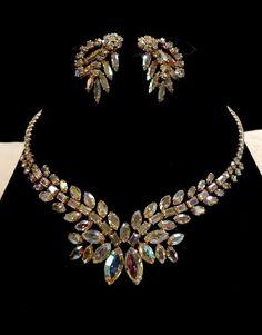 Vintage Sherman AB Crystal Rhinestone Necklace and Earrings by SilentWhisperVintage on Etsy https://www.etsy.com/listing/207411713/vintage-sherman-ab-crystal-rhinestone