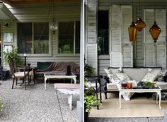 Great idea to add interest to patio..vintage shutters on outside of window