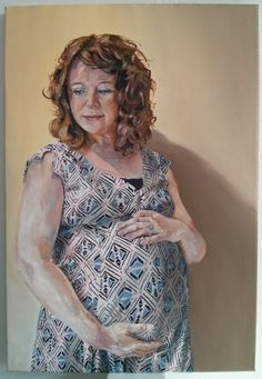 'Sarah and Henry, in patterned dress' by Dr. Mata Haggis, 2013. Oil on Canvas. 40x60cm
