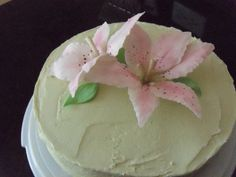 Butter cream cake with Fondant Rosepoint Lillies - the Lillies were handmade and painted :)