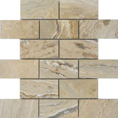 Shop allen + roth Beige Natural Stone Mosaic Subway Indoor/Outdoor Wall Tile (Common: 12-in x 12-in; Actual: 12-in x 12-in) at Lowes.com