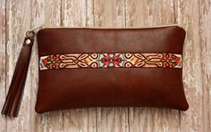 Faux Leather Clutch with Navajo Trim by SweetPeaTotes on Etsy