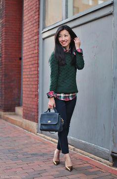 patterned utility blouse + pullover sweater + black skinnies + heels